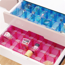2PCS Multifunction Free Combination Divided Storage Box Black Plastic Transparent Underwear Organizer Cabinet Storage Dividers(China)
