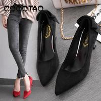 European And American Red Wedding Shoes Korean Bow Cat With Single Shoes Suede Sexy Toasting High Heels Wild Four Seasons
