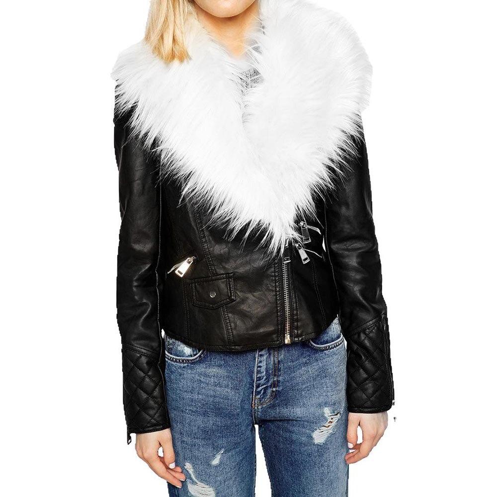 Winter Womens Biker Motorcycle Jacket PU Leather Punk Hooded Short Coat Outwear