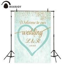 خلفية Allenjoy photophone للزفاف ذهبية لامعة أخضر نعناعي رومانسي قلب الحب خلفية مخصصة للتصوير الفوتوغرافي