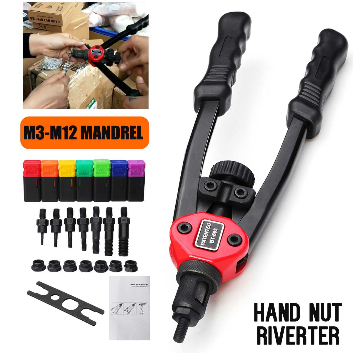 Becornce 1Set Riveter Nut Guns Auto Rivet Tool BT-605 Hand Nut Riveter Guns M3 M4 M5 M6 M8 M10 M12 Mandrel Riveting Tool Kits
