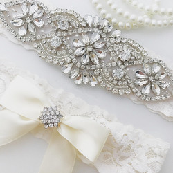 Wedding Bridal Garter Set Crystal Rhinestone on a WHITE Lace crystal Toss Garter Set with Ivory Bow