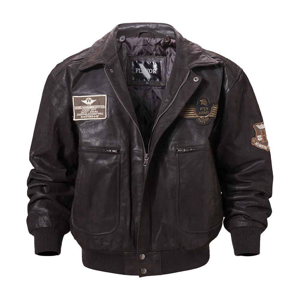 H8caf9081bf6142b48de16ded3b5b9e716 FLAVOR New Men's Real Leather Bomber Jacket with Removable Fur Collar Genuine Leather Pigskin Jackets Winter Warm Coat Men
