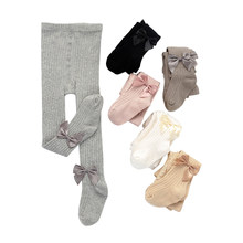 Crianças infantis do bebê meninas bonito bowknot meia-calça crianças bebê meninas moda sólido com nervuras collants para festa de uso diário 6m-12years