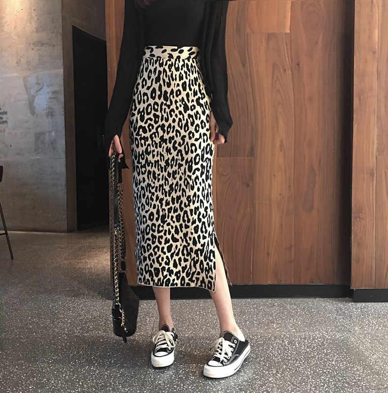 2019 novo outono e inverno longo corte de cabelo malha leopardo saia feminina cintura alta malha saia