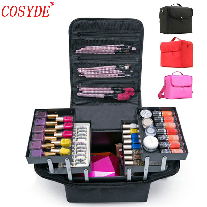 Large Capacity Make Up Bag Hand Held Manicure Hairdressing Embroidery Tool Kit Multi-layer Cosmetics Storage Case Toiletry Box