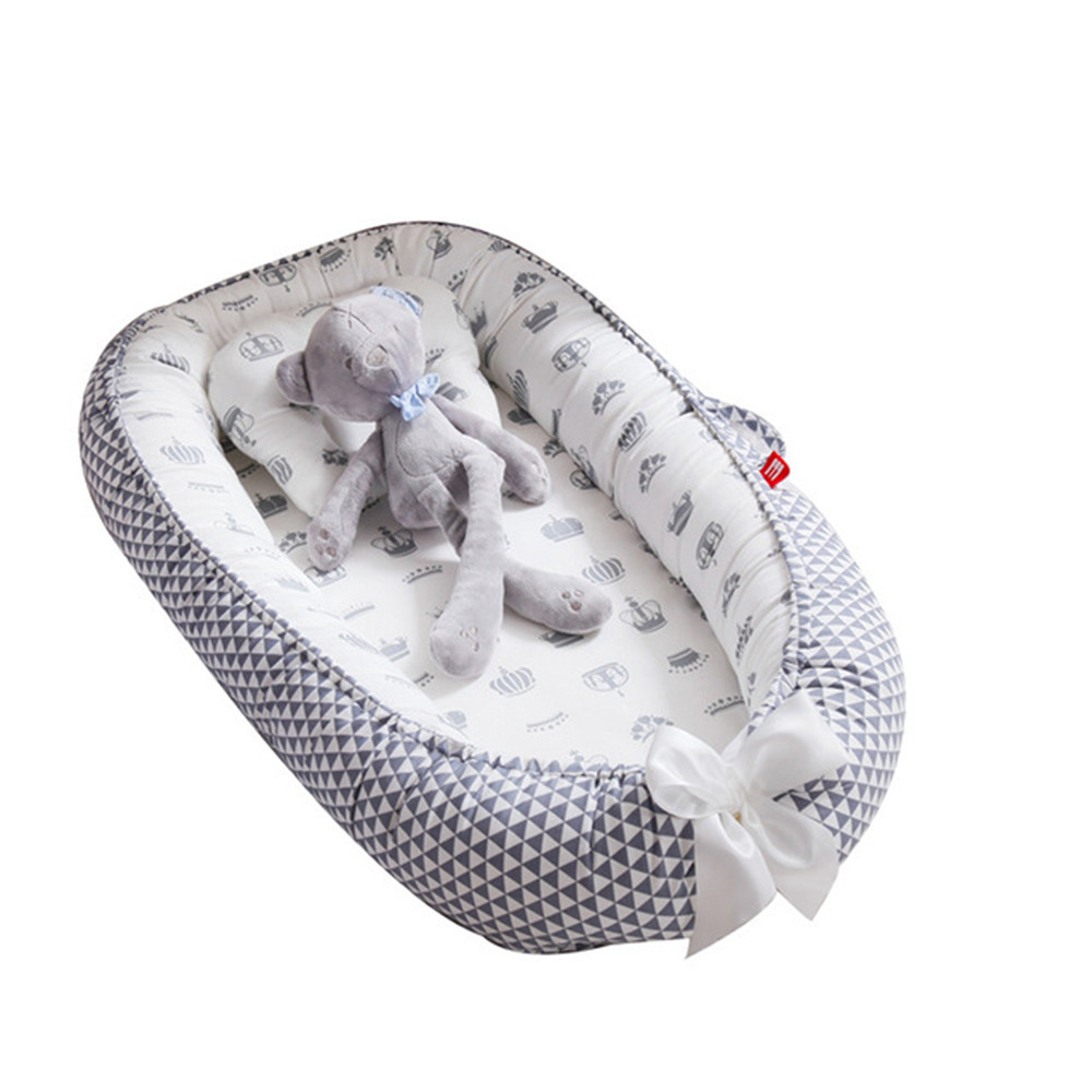 Baby Nest Bed with Pillow Portable Crib Travel Bed Infant Cradle Baby Play Mat Nest Bassinet Bumper Soft Outdoor Crib