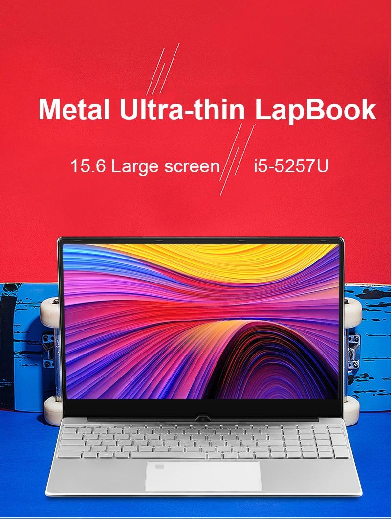 15.6 inch Metal Body Laptop intel i5 5257U 8GB 256 GB 512 GB SSD With Full Layout Keyboard Backlight Fingerprint Unlock Game 1
