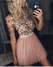 달콤한 긴 소매 블러쉬 핑크 짧은 홈 커밍 드레스 2020 vestidos 드 15 cortos 3d 꽃 진주 tulle 귀여운 칵테일 드레스