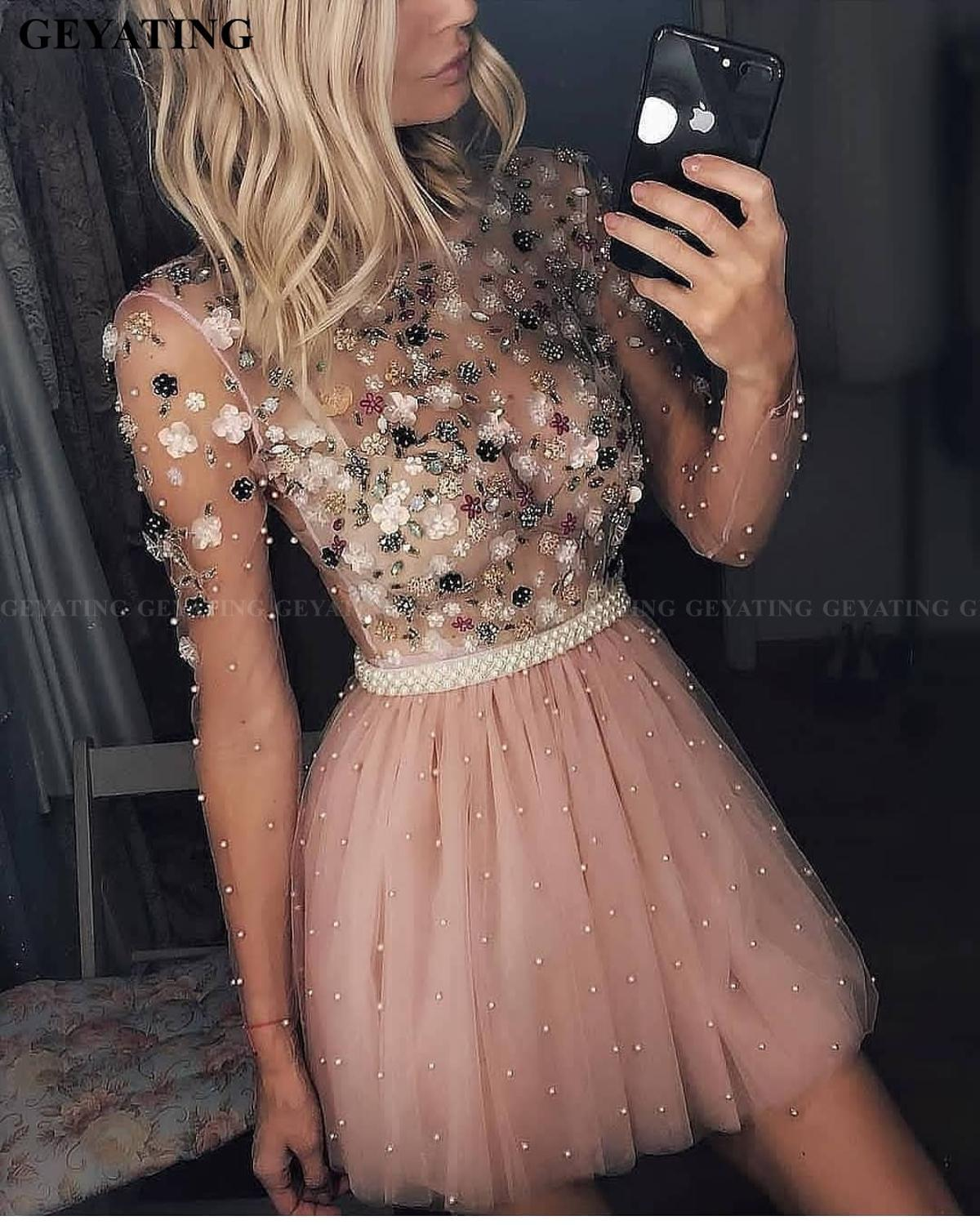 Sweet Long Sleeves Blush Pink Short Homecoming Dresses 2020 Vestidos De 15 Cortos 3D Flowers Pearls Tulle Cute Cocktail Dress