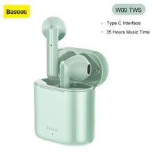 Baseus W09 TWS 무선 이어폰 블루투스 5.0 헤드폰 미니 이어 버드 충전 박스 스테레오 스포츠 진정한 무선 헤드셋 판매