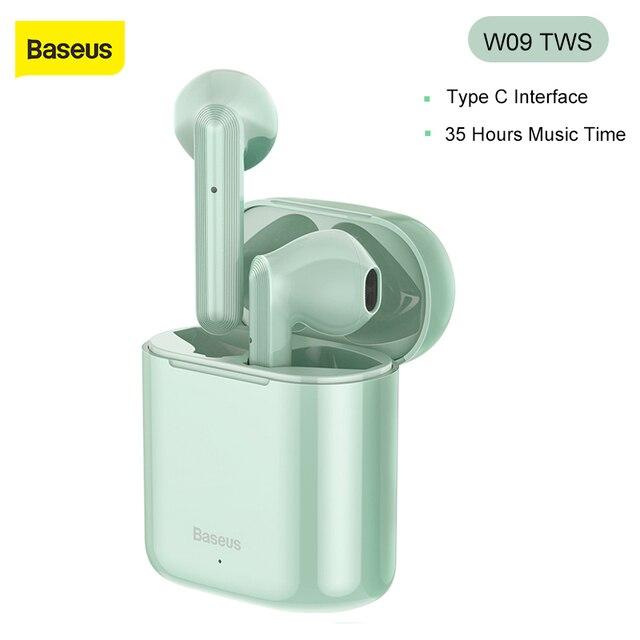 Baseus W09 TWS Wireless Earphone Bluetooth 5.0 Headphone Mini Earbuds With Charging Box Stereo Sports True Wireless Headset Sale