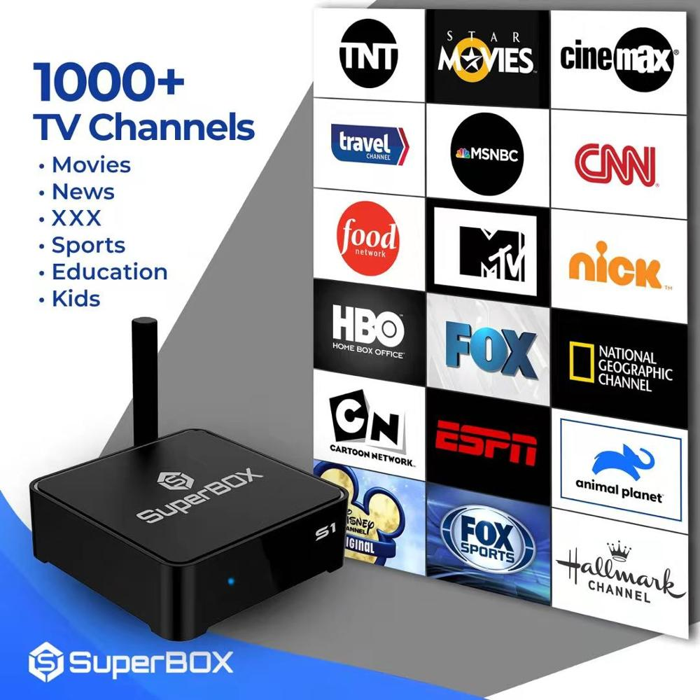 SUPER BOX S1-UNIVERSAL USA Canada English IPTV Channels Subscription Free Lifetime Live TV HD 1000+/VOD Movies News Media Player