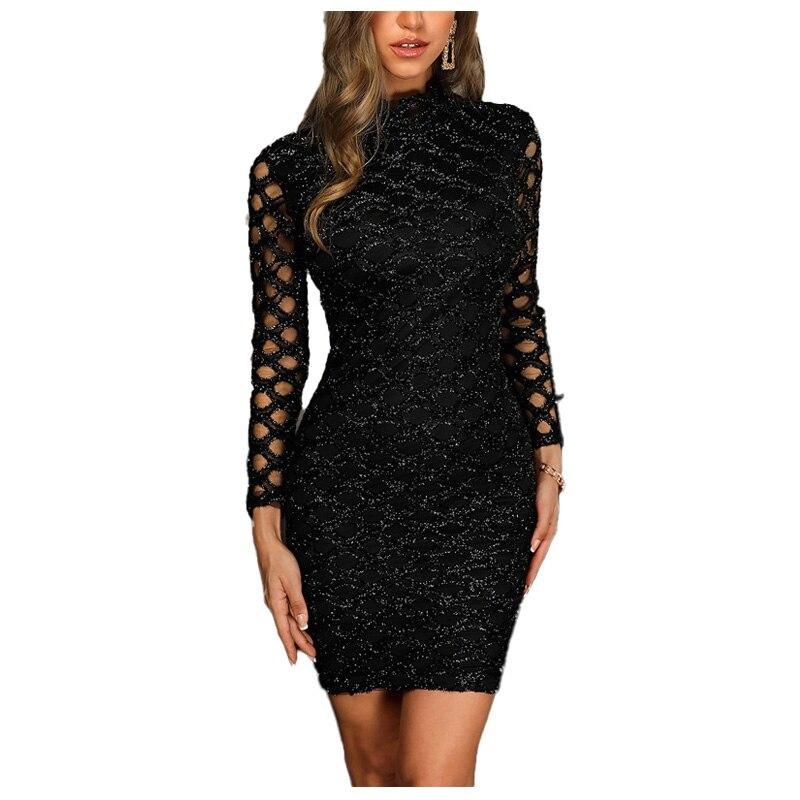 2020 Sexy sukienki dla kobiet elegancka, długa rękaw w stylu Casual, czarny Hollow wąska obcisła sukienka kobiety Party wysoka rozciągliwość sukienka