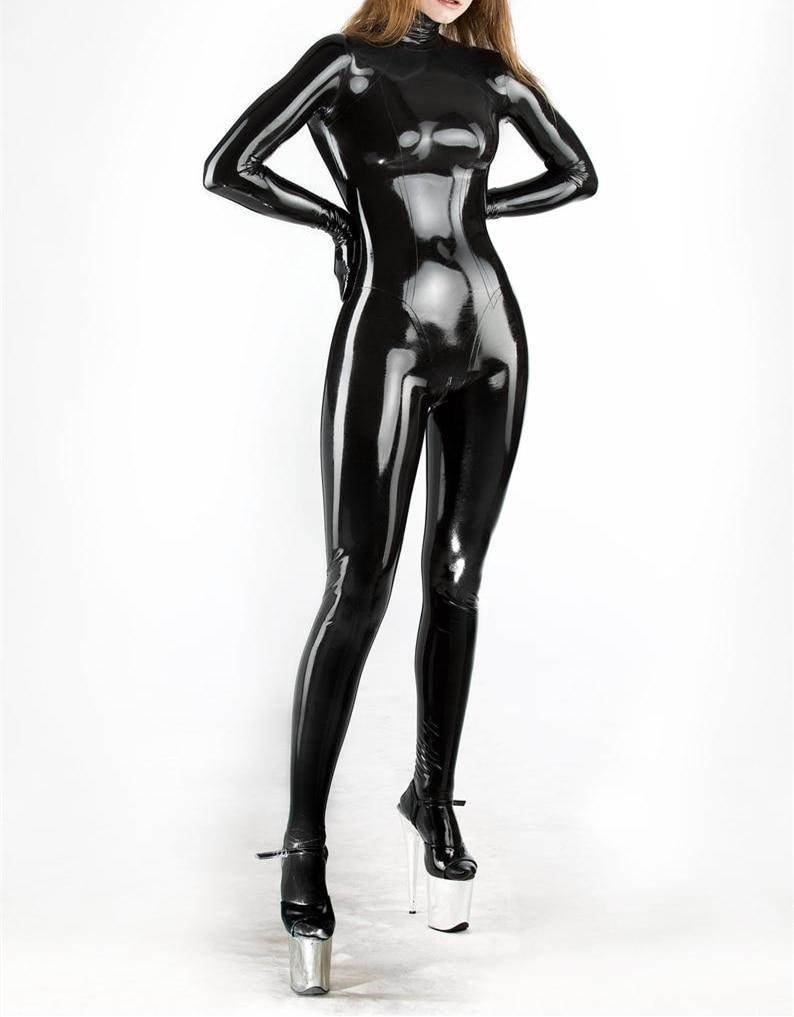 Латексный костюм кошки для девочек, латексное резиновое боди для косплея с молнией сзади через промежность, черный полный костюм кошки, при...