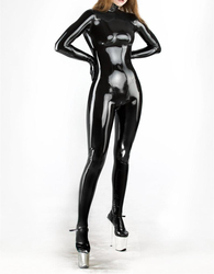 Latex Girl's Catsuit Latex Rubber Cosplay Bodysuit With Zip Back Through Crotch Black Full Catsuit Attached Gloves Latex Socks