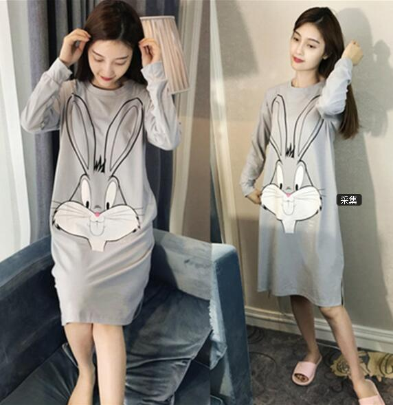 Women Cotton Sleepshirts Nightgown Long Sleeve Plus Size Nightdress For Ladies Cartoon HomeDress Autumn Girl Casual Nightshirt