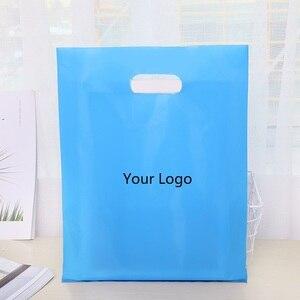 Image 2 - Plastikowe torby na prezent odzież zakupy opakowania dostosowane marka biznes Logo hurtownia luzem (opłata za drukowanie nie jest wliczony w cenę)