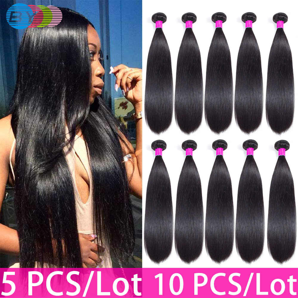BY Straight Hair Bundles Brazilian Hair Weave Bundles 100% Human Hair Bundles Natural Color Remy Hair Weave 5 Pieces