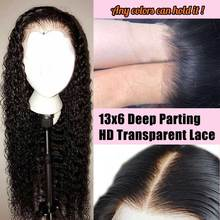 Transparent 13×6 Deep Lace Front Human Hair Wigs Curly HD Lace Wig Glueless Virgin Invisible Fake Scalp Frontal For Women Wave