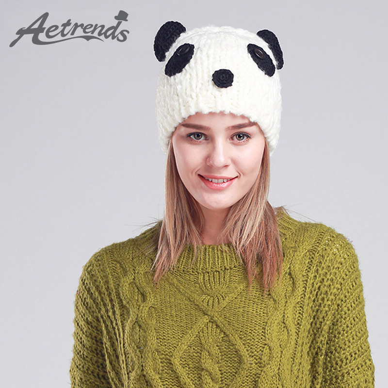 [AETRENDS] Women's Cute Panda Beanies Winter Beanie Hats For Women Caps Z-3080