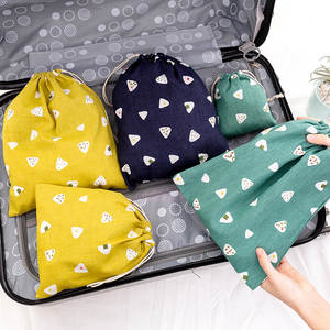 Grocery-Bags Cloth Drawstring Eco Foldable Travel Cotton Women Lady