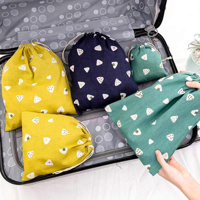 Frauen Baumwolle Kordelzug Einkaufstasche Eco Reusable Tote Tasche Faltbare Lebensmittel Taschen Dame reise Lagerung Tasche Tuch Einkaufstasche