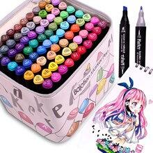 12/40/60/80 arte marcadores Punta de cepillo pluma dibujo a base de Alcohol marcadores de doble cabeza Manga dibujo bolígrafos suministros de arte