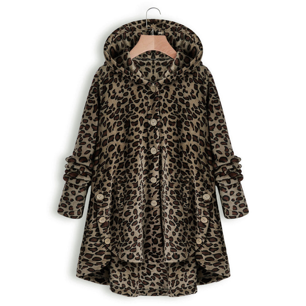 Women Winter Sherpa Leopard Sweater Teddy Fleece Hooded Fluffy Cardigan Oversized 5XL Loose Sweaters Luxury Faux Fur Coat