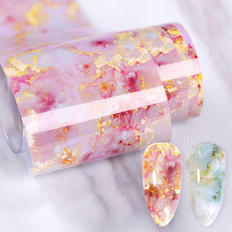 100/50x4 ซม.เล็บชุดหินอ่อนสีชมพูฟอยล์กระดาษเล็บArt Transferสติกเกอร์สไลด์เล็บart Decalเล็บ 1 กล่อง
