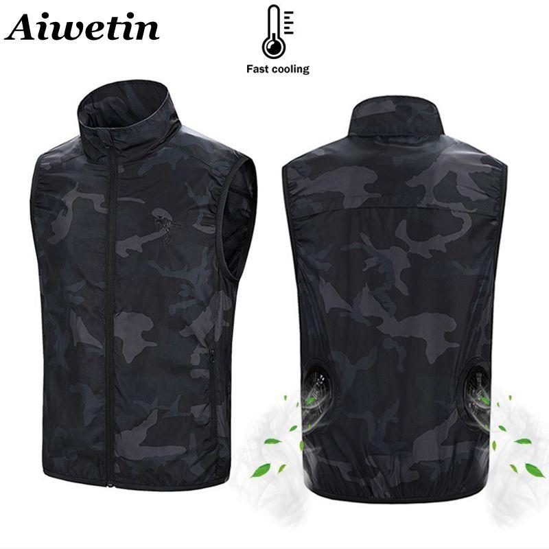 2020 Summer Cooling Fan Vest USB Smart Charging Clothing Men Women Outdoors Sunscreen Skin Jacket Breathable Cool Suit