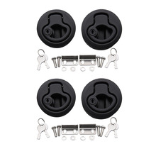 4 PCS Marine Boat Round Deck Lock with Key Plastic Flush Pull Slam Latches Lift Ring Handle for RV Deck Hatches Door Replacement