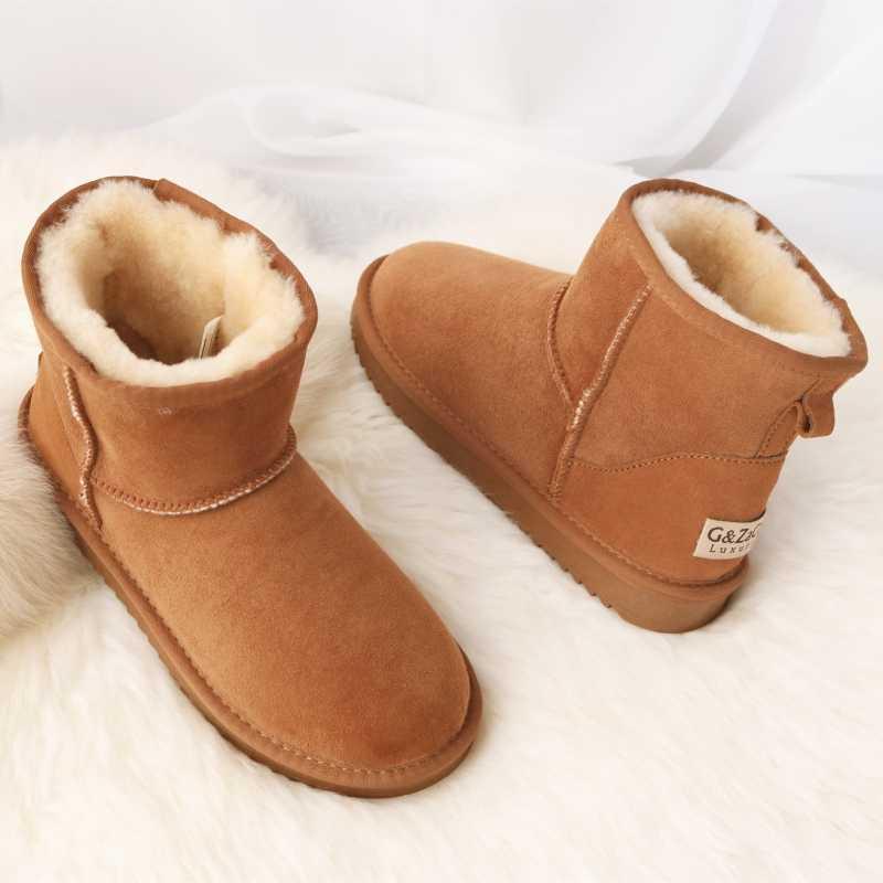 G & Zaco หรูหรา Sheepskin Snow รองเท้าผู้หญิงรองเท้าหนังสั้นฤดูหนาวแกะขนสัตว์รองเท้าบูทผู้หญิงฤดูหนาวรองเท้า