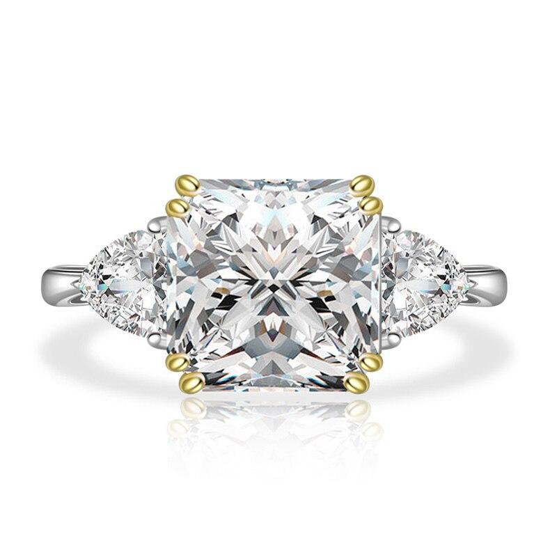 PANSYSEN pur 925 en argent sterling de luxe bague d'anniversaire de mariage avec 10MM créé moissanite pierre femme bijoux fins cadeau - 6