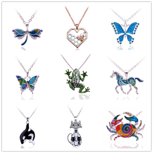 Free Fan Colorful Enamel Butterfly Horse Frog Sea Animal Pendant Necklace Trendy Collar Statemet Necklace Collier Femme 2020(China)