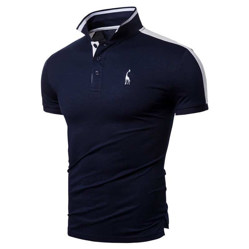 2020 New Summer Cotton POLO Men Giraffe Embroidery High Quality Brand Design Polo Shirt Men Short Sleeve Men Clothing Tops Tees