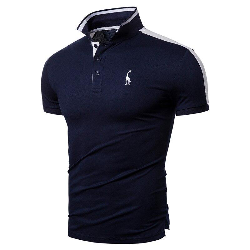 2020 New Summer Cotton   POLO   Men Giraffe Embroidery High Quality Brand Design   Polo   Shirt Men Short Sleeve Men Clothing Tops Tees