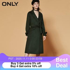 Image 1 - ONLY  womens winter new long woolen coat Side slit design Cuff tie up design