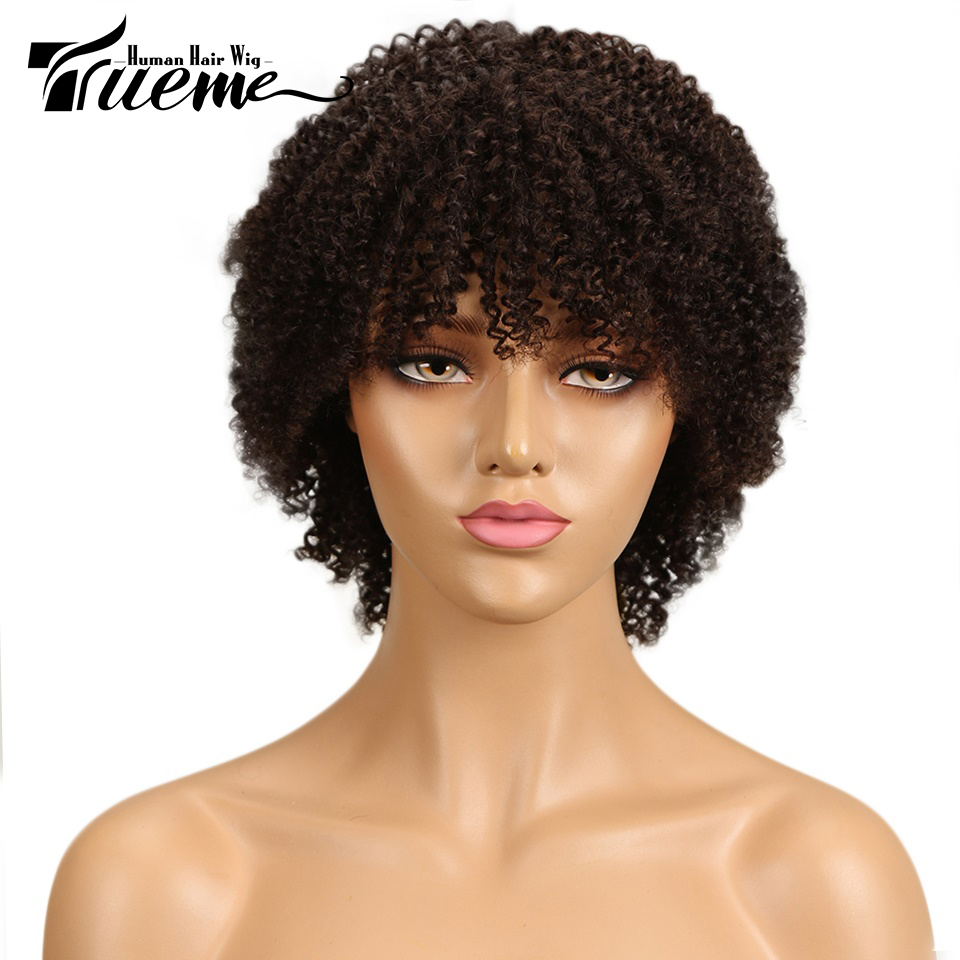 Trueme Afro Kinky Curly Human Hair Wigs For Black Women Fashion Brazilian Curly Wigs Cheap Human Short Full Wigs