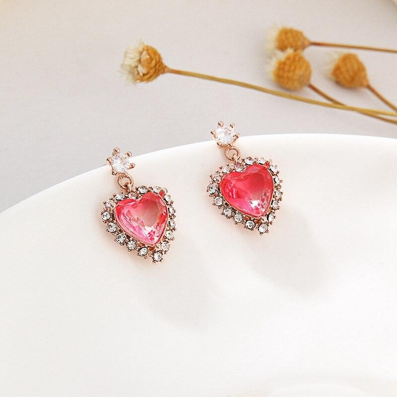 MENGJIQIAO Koreanische Nette Elegante Rosa Kristall Herz Ohrringe Für Frauen Studenten Zart Mikro Gepflastert Pendientes Schmuck