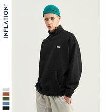 인플레이션 기본 남성 하이 칼라 스웨터 파우치 포켓이있는 퓨어 컬러 남성 운동복 루즈 피트 망 가을 운동복 9620 w
