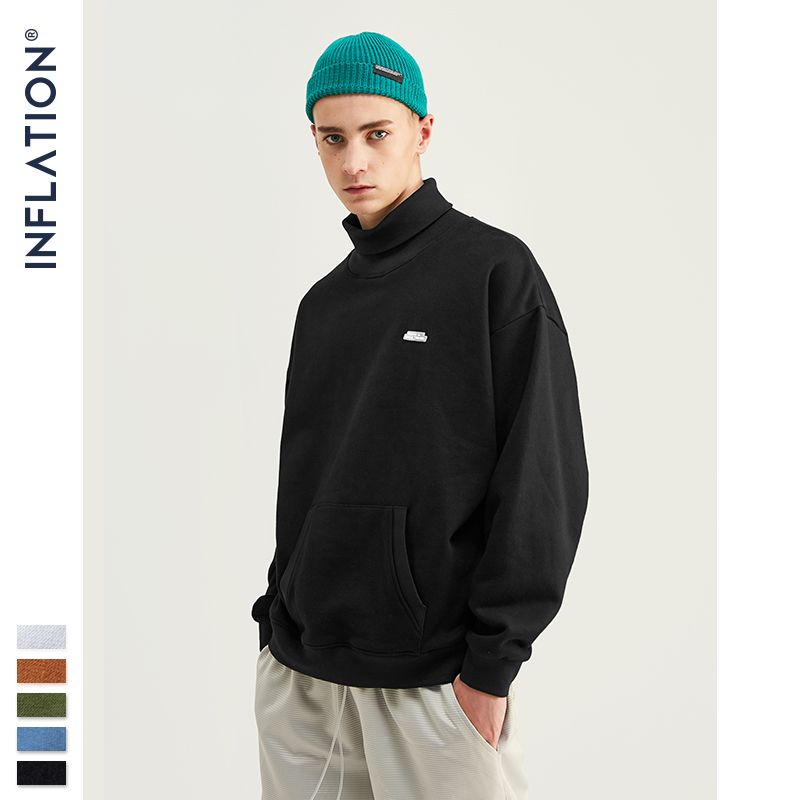 INFLATION Basic Men High-collar Sweatshirt Pure-color Men's Sweatshirt With Pouch Pocket Loose Fit Mens Autumn Sweatshirt 9620W