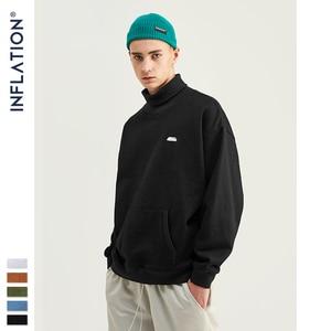 Image 1 - INFLATION Basic Men High collar Sweatshirt Pure color Mens Sweatshirt With Pouch Pocket Loose Fit Mens Autumn Sweatshirt 9620W