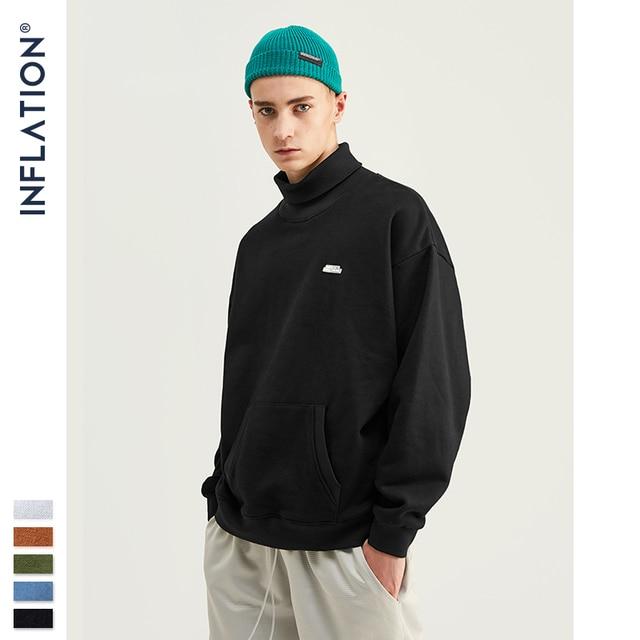 INFLATION Basic Men High collar Sweatshirt Pure color Mens Sweatshirt With Pouch Pocket Loose Fit Mens Autumn Sweatshirt 9620W