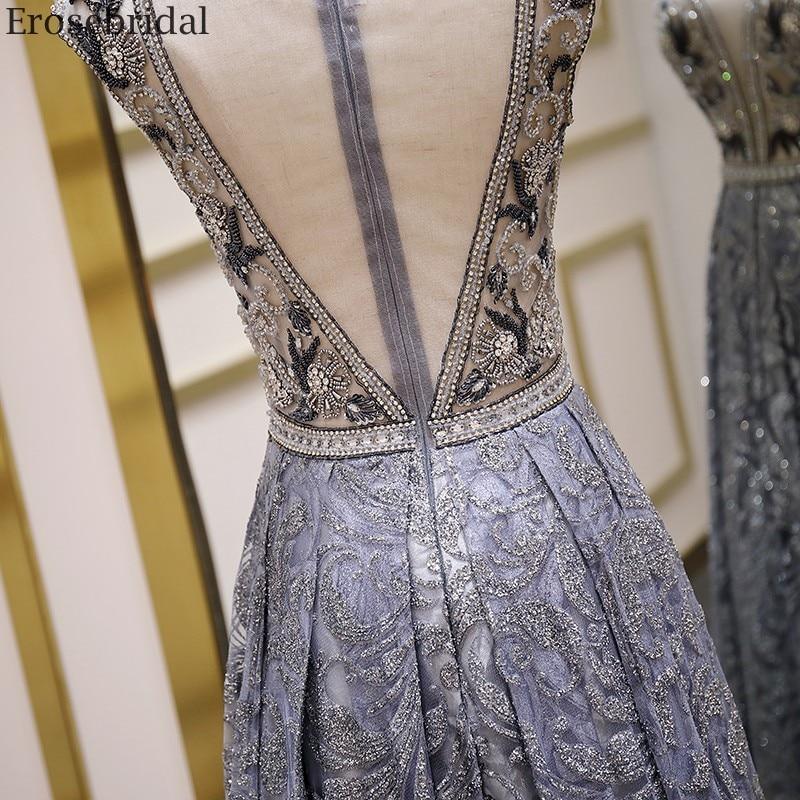 Image 5 - Erosebridal Luxury Beads Evening Dress Long See Through Body A Line Prom Dress 2020 Small Train Unique Neck Design Zipper BackEvening Dresses   -