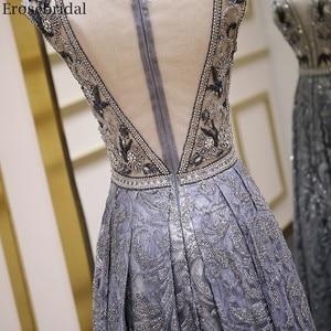 Image 5 - Erosebridal Luxury Beads Evening Dress Long See Through Body A Line Prom Dress 2020 Small Train Unique Neck Design Zipper Back