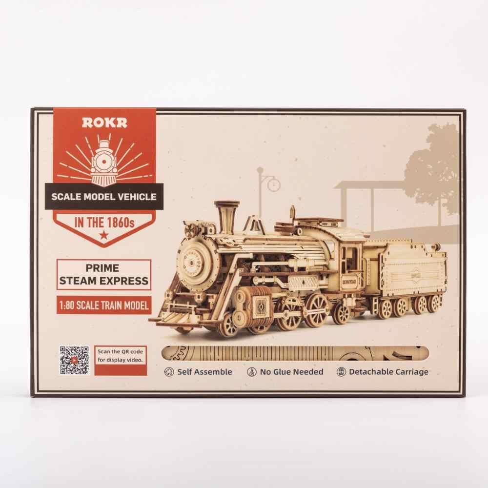 Robotime ROKR Model pociągu 3D drewniane Puzzle zabawki montaż lokomotywa zestaw klocków dla dzieci prezent urodzinowy dla dzieci