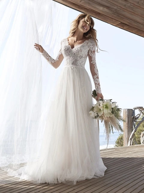 A Line Long Sleeve Wedding Dress Lace Bridal Dresses 2020 Tulle Ivory Vestido De Novia Open Back свадебное платье Plus Size 2