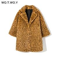WOTWOY 2019 Winter Leopard Faux Fur Coats Women Casual Long Sleeve Wide Waist Thick Teddy Jacket Female Fake Rabbit Fur Oversize