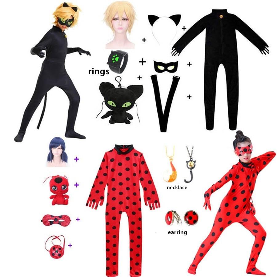 Costume Cosplay Reddy pour filles, Costume d'halloween pour enfants, chat Noir, anneaux noirs, vêtements de fête d'anniversaire pour filles, Tikki Plagg